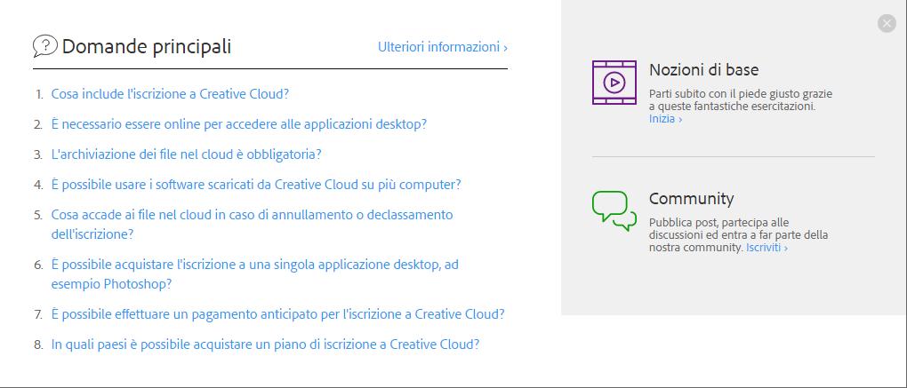 Le Domande principali di Creative Cloud