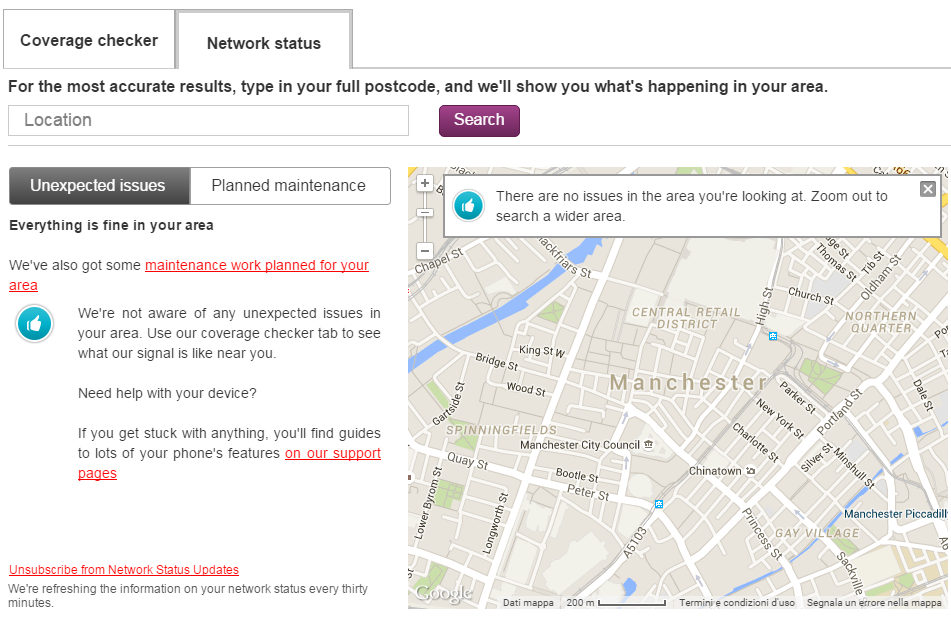 Check your coverage and get updates on the Vodafone network Manchester