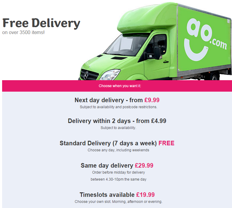 Delivery Information from ao.com