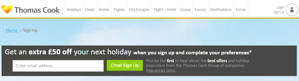 Sign up to our Email Newsletter Thomas Cook