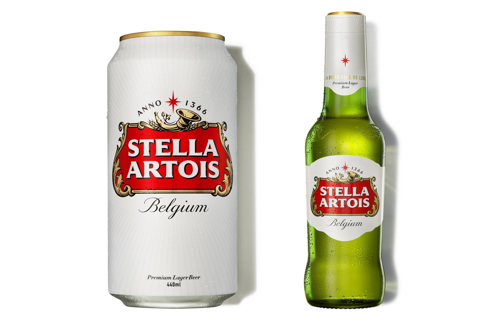 Stella Artois prima e dopo il rebranding