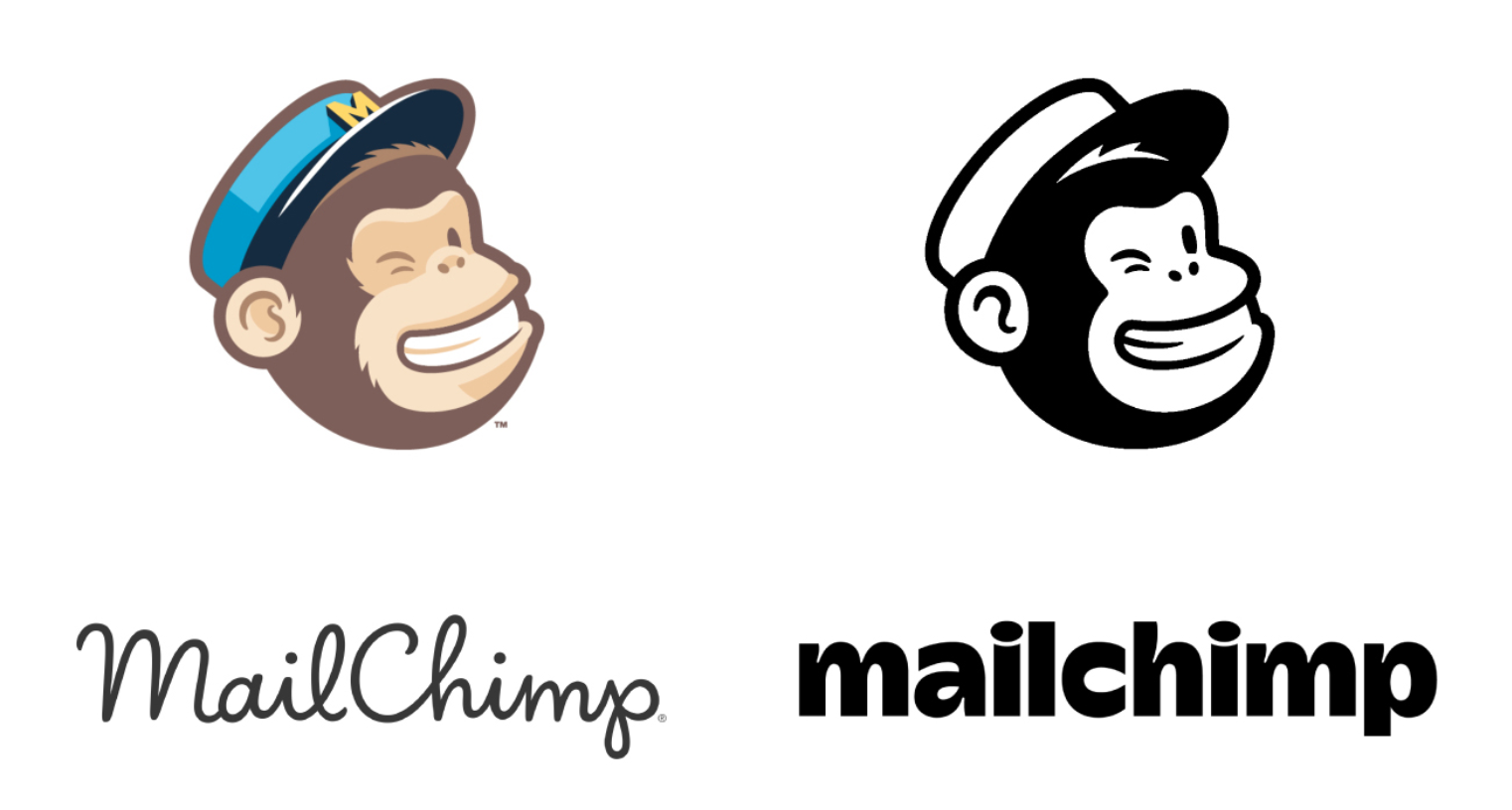 Mailchimp: i loghi prima e dopo il rebranding