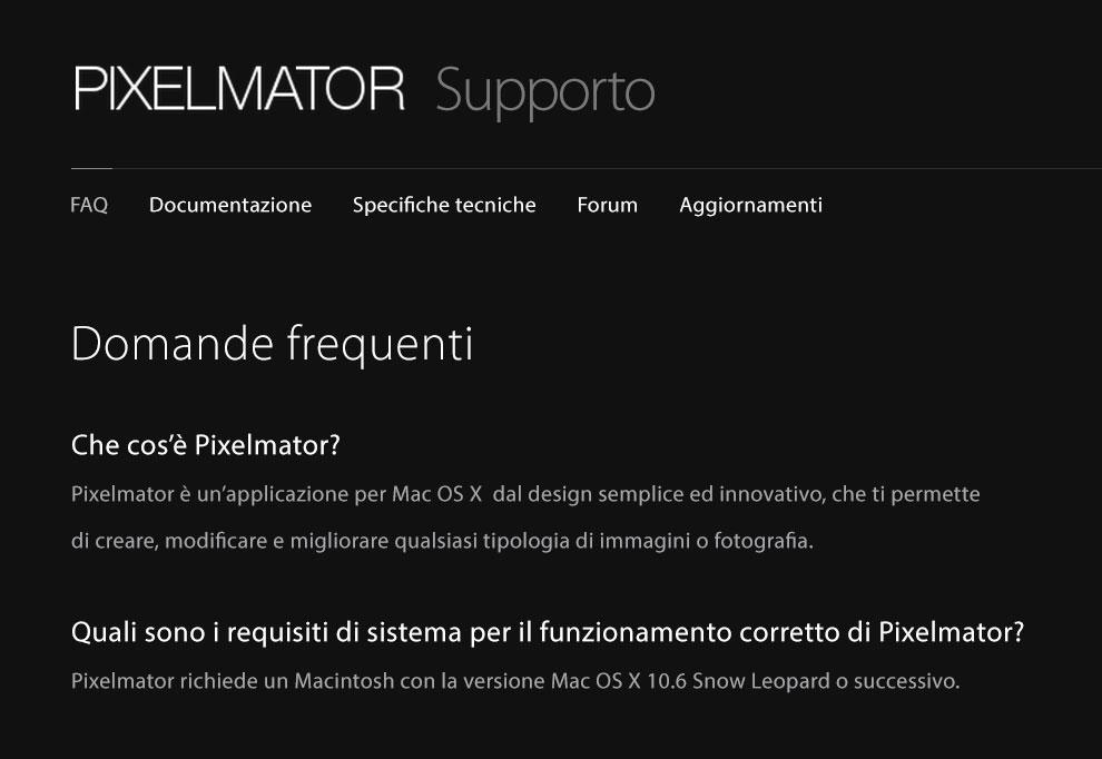 La pagina di supporto di PIXELMATOR