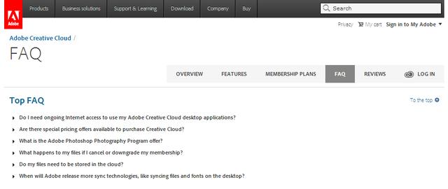 Le Top FAQ di Adobe