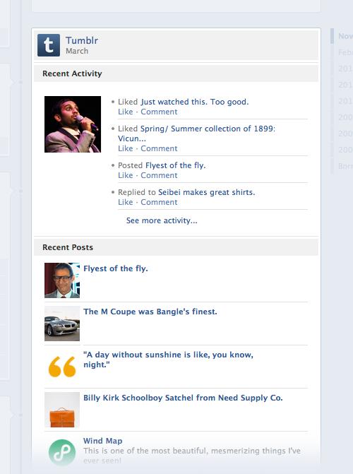 Tumblr su Facebook Timeline